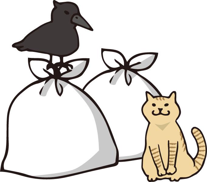 ごみと猫とカラス